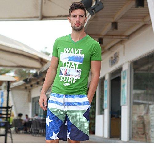 Lantra Besa CSM0011 Wasserabweisend Schnelltrocknend Herren Männer Badehose Badeshorts Knielang Boardshorts Beach Shorts für Wassersport im Sommer Grün-Blau Sterne