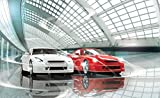 Fototapete Tapete ForWall Luxuriöse Autos Ausstellung P4 (254cm. x 184cm.) Photo Wallpaper Mural AMF1926P4 Rot Weiss Wagen Autos Sport Renne Bau Transport