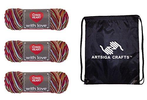 Rot Herz mit Love Garn (3er Pack) Paket mit 1artsiga Crafts Projekt Tasche 3-Pack E400-1944-punch - Halten Herz Punch
