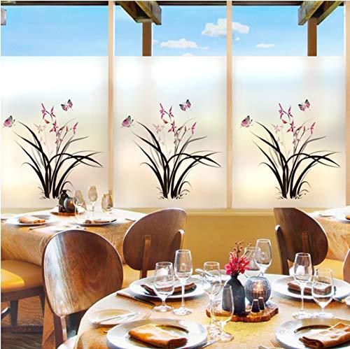 Lvabc 80 X 120 Diy Orchidee Schmetterling Kunst Glasfolie Fenster Aufkleber Transparent Opaque Glasmalerei Aufkleber Für Wohnkultur (Le 1515 Halloween)