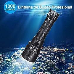 HODAY Lampe de Plongée, 1000 Lumen Lampe sous Marine, Rechargeable LED Lampe Torche Etanche, 100 Mètres Plongée Torche avec 1X 18650 Batterie et Chargeur