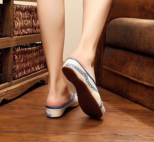 DESY scarpe ricamate, unico tendine, stile etnico, femminile caduta di vibrazione, modo, comodo, sandali Yellow