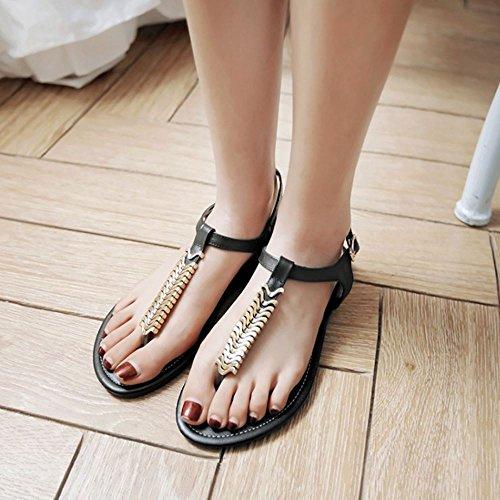 RAZAMAZA Femmes Clip Toe Sangle de cheville Tongs Sandales Ete Gladiateur Chaussures Plates Noir