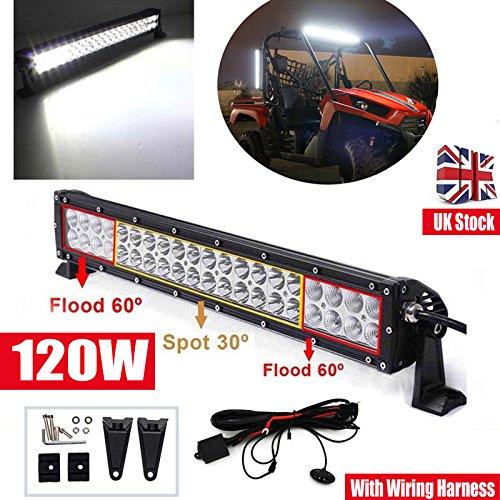 LED Light Bar Driving Nebel Lampe 120W Flood Spot Beam Combo Super Hell Arbeitsleuchte Wasserdicht für 4x 4Traktor Boot Offroad SUV Jeep Einsetzen, Ihren + Verkabelung Schalter an/aus–in Großbritannien Schiff Leiterbühne 2Jahre Garantie