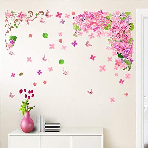 Adesivo da parete fiori romantici farfalle floreali wall art stickers per soggiorno decorazione fai da te pvc decalcomanie rimovibili regalo
