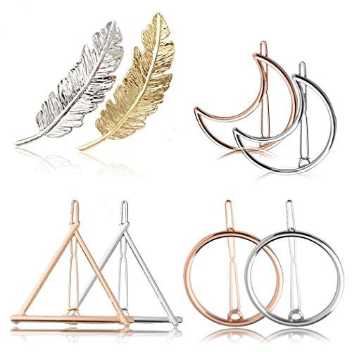 8ST Hair Clip-Set, Mond Dreieck Kreis Feder förmigen Haarspangen Styling Accessoires für Frauen (Gold und Silber)