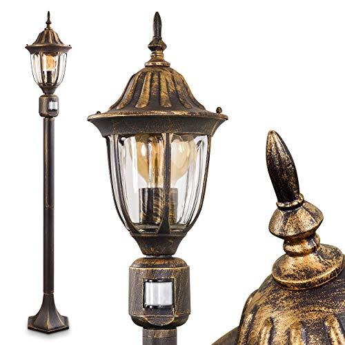Außenleuchte Ribadeo mit Bewegungsmelder, Kandelaber in antikem Look, Aluguß in Schwarz/Gold mit Klarglas-Scheiben, Wegeleuchte 110 cm, Retro/Vintage Gartenlampe, E27-Fassung, je max. 60 Watt, IP44
