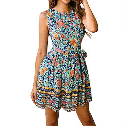 Preisvergleich Produktbild HappyQn Sommerkleid Damen Boho O-Ausschnitt Vintage A-Linie Minikleid Swing Strandkleid mit Gürtel