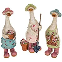 Davids Floral Garden Ducks - Complete Set of 3 - Duck Gardener Ornament Gift