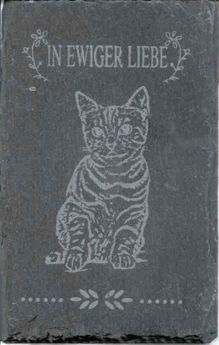 Katzengrabstein IN EWIGER LIEBE aus Schiefer Gedenkstein 14 x 9 cm