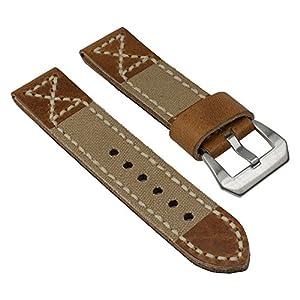 Ersatzband Uhrenarmband Canvas/Leder Band Beige mit Naht 25825S, Stegbreite:20mm