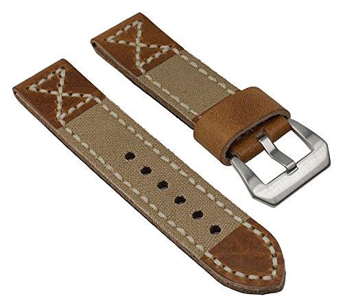 Ersatzband Uhrenarmband Canvas/Leder Band Beige mit Naht 25825S, Stegbreite:24mm (Uhrenarmband Canvas Leder)