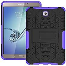 DWay Armor Custodias Tab S2 8.0 T710 Hybrid Design with Stand Feature Detachable Dual Layer Protective Shell Hard Back Custodias Cover per Samsung Galaxy Tab S2 8.0inches SM-T710 / T715 (Purple)