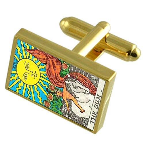 La tarjeta Sun Tarot tono Oro gemelos Cuadro de Mensaje grabado