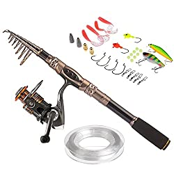 Plusinno Spin Spinning Rod & Reel Combos Carbon Telescopic Fishing Rod With Reel Combo Sea Saltwater Freshwater Kit Fishing Rod Kit (2.1m 6.89ft)