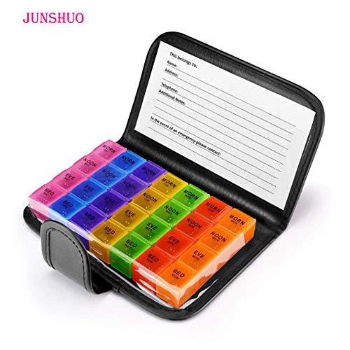 JUNSHUO Tablettenbox 7 Tage Morgens Mittags Abends,Wöchentliche kleine Reise Pillendose organisieren, Erinnerung für Arzneimittelzusätze,Vitamine