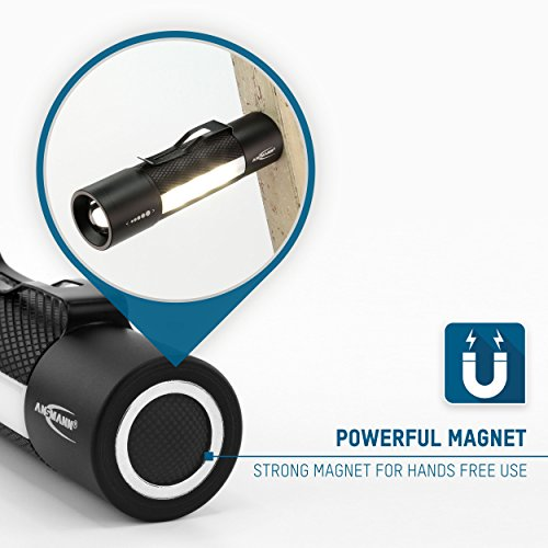 ANSMANN Future Multi-Funktions LED-Taschenlampe fokussierbar + Arbeitslicht + Signal-Blinklicht + Haltemagnet inkl. Gürtelclip & 3x AAA Alkaline Batterie - 6