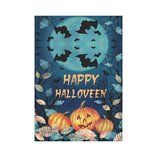 momnn Happy Halloween Pumpkin Maple Leaves Polyester Garden Flag Outdoor Banner, Spooky Full Moon Night Decorative Large House Flags for Party Yard Home Decor 12x18 inches