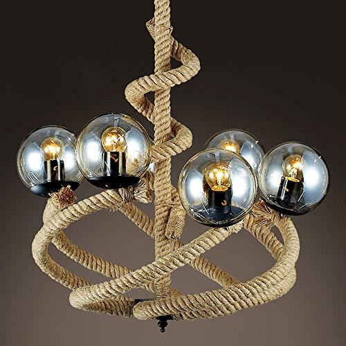 EASTYY 6-Lichter Magic Bean Glass Globe Shade amerikanischen Industrie Kronleuchter Vintage Retro Anhänger Leuchte E27 Edison einstellbare Decke Pendelleuchte Esszimmer Wohnzimmer