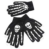 BHYDRY 1 par de Hombres Skull Bone Skeleton Goth Racing Antideslizantes Deportivos Guantes de Dedo Completo