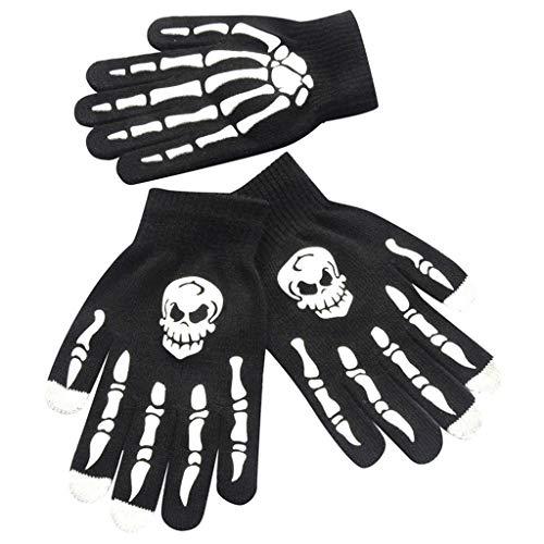 TIREOW 1 Paar Männer Junge Schädel Knochen Skelett Goth Racing rutschfeste Sport Vollfinger Handschuhe Halloween Cosplay Zubehör Handschuhe (A)