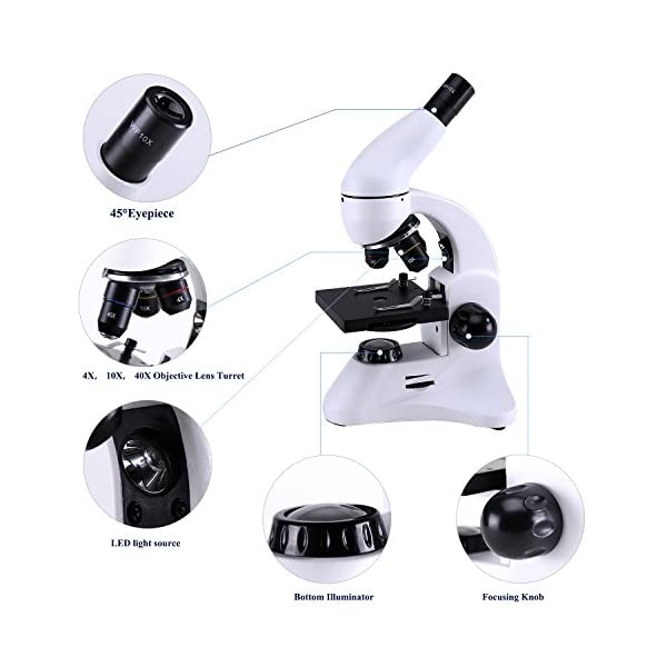 USCAMEL Microscope for Kids,Professional Student Biological Optics, with 400X LED Light and Biotic Slices, For Children Experiment Learning.
