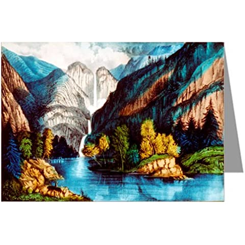 6 tarjetas de felicitación de curtidor e Ives Handcolored bolchevique representando la catarata en Yosemite Falls,