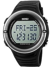 Panegy - Reloj Digital Deportivo con Múltiples Funciones Resistente al Agua con Podómetro y Monitor de Frecuencia de Corazón para Hombres-Color Plata