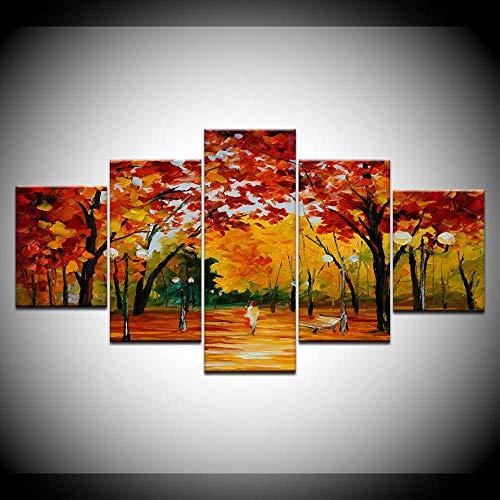 INFANDW 5 Piezas Impresión Lienzo Bosque otoño Cuadro