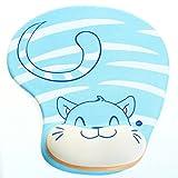Demarkt Mauspad Ergonomisches Komfort Mauspad mit Handauflage aus Gel,Blau Katze