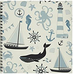 3dRose db_123491_1 Blue and White Nautical Theme Octopus, Boat, Anchor Drawing Book, 8 by 8-Inch