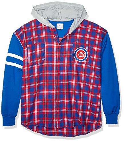 FOCO MLB Unisex-Jacke mit Kapuze, Leichter Flanellmantel - Herren, Unisex, Lightweight Flannel Hooded Jacket - Mens, Team Color, Large -
