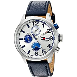 Tommy Hilfiger Men's Quartz Stainless Steel and Leather Casual Watch, Color:Blue (Model: 1791240)