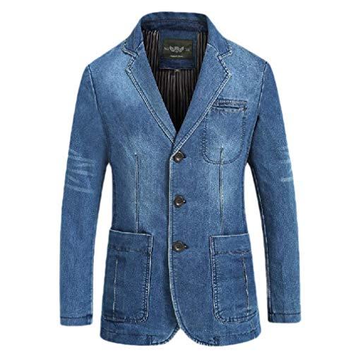 CuteRose Mens Lapel Blazer Regular Fit Oversized Denim Jean Coats Outerwear Light Blue XL Sherpa Lined Denim