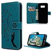 S8 Plus Case, Galaxy S8 Plus Wallet Case, YOKIRIN PU Leather Magnetic Folio Inner Soft TPU Embossed Butterfly Hand with Card Slots Kickstand Flip Wallet Cover for Samsung Galaxy S8 Plus, Blue