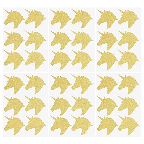 Toyvian 6 Hojas Pegatinas Unicornio Brillo Etiqueta