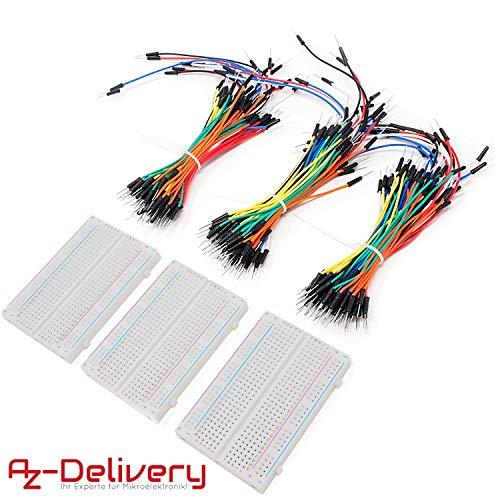 AZDelivery - Jumper Wire x 40 pz. Ogni 20 cm M2M/F2M/F2F per Arduino e Raspberry Pi Breadboard Parent. Mini Breadboard + M2M Set