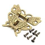 Holz jewelry box Case Locks Retro Vintage Schmetterling Latch Fang Lock Überfalle Pad Brust 4der mit 24Schrauben