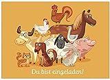 16 Einladungskarten zum Kindergeburtstag - Motiv Tiere - für Kinder, Jungen, Mädchen, Party Feier Geburtstagseinladungen im Set