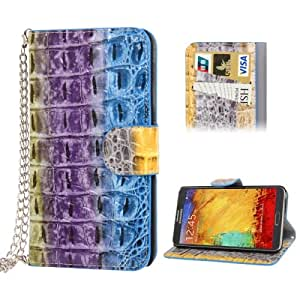 Colorful Snakeskin Texture Leather Case with Credit Card Slot & Holder & Lanyard for Samsung Galaxy Note 3 N9000