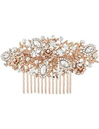 EVER FAITH® - Cristal Vintage Inspirado Flor Novia Peine Peineta de Pelo - Rosa-Oro-Tono N03762-3