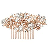 EVER FAITH® Crystal Vintage Inspired Flower Bridal Hair Comb - Rose-Gold-Tone N03762-3