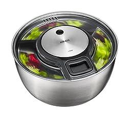 GEFU Original Salatschleuder Speed Wing 28160 - Hervorragend getrockneter Salat in servierfertiger Edelstahl-Schüssel