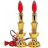 YQ WHJB Gold Elektrische Kerze-Halter,Kunststoff Kerzenlicht Buddhistische Tempel Buddha-lieferungen Leuchter-A