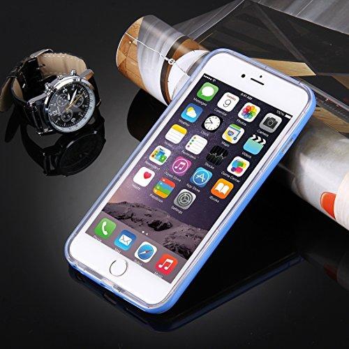iPhone Case Cover Pour iPhone 6 & 6s Diapositive Slice Design Plastique amovible Flamme Transparent TPU Housse de protection avec appel entrant Flash LED clignotant ( Color : Purple ) Blue
