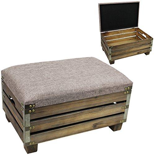 Kiste mit Sitzfläche und Tragegriffen 48x27x33cm Holzkiste Dekokiste Aufbewahrungskiste Holzkasten Sitzhocker Fußhocker