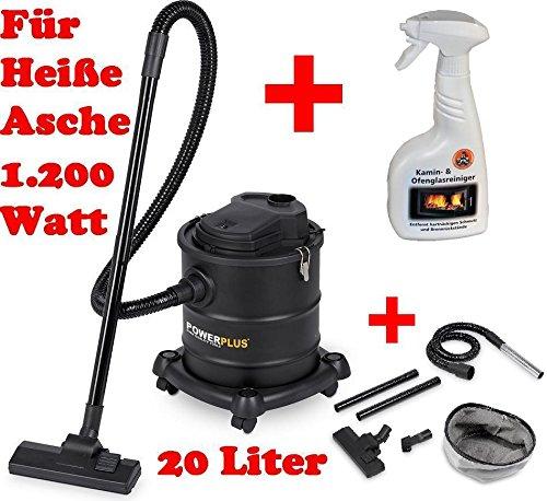 Aschesauger Kaminsauger Ascheschlucker 20Liter mit Filter Aludüse 1200 Watt + 1 Flasche Kaminglas- und Ofenreiniger Ritters Profiprodukte
