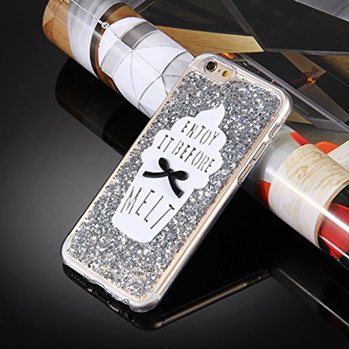 MXNET Fall für iPhone 6 u. 6s, Glitter-Puder-Eiscreme-Wörter Muster weicher TPU schützender Fall ,Iphone 6/6s Case ( Color : Red ) Silver