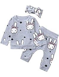 Hawkimin 3 PC Kleinkind Baby Jungen Mädchen Cartoon Kaninchen Print Top Kleidung + Pants + Stirnbänder Set Outfit