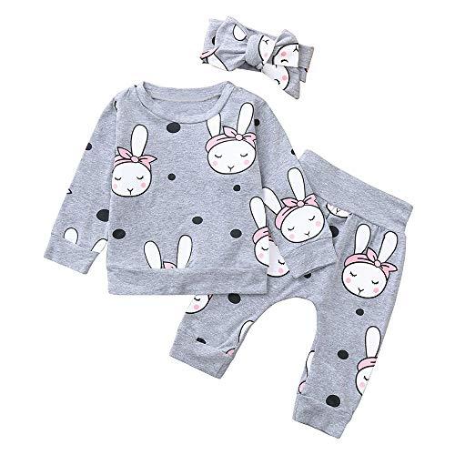 Janly 3PCS Kleinkind Baby Cartoon Kaninchen Print Top Kleidung + Pants + Stirnbänder Set Outfit (6-24 Mt) Baby Langarm-Cartoon-Häschen-Print-Top + Pants + Hair Strap 3-teiliges Set (90, Grau) -